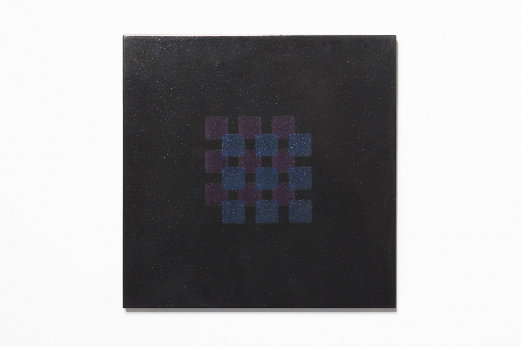 Square, black-speckled painting overlaid with two intersecting grids of 3 x 3 squares, blue atop purple.