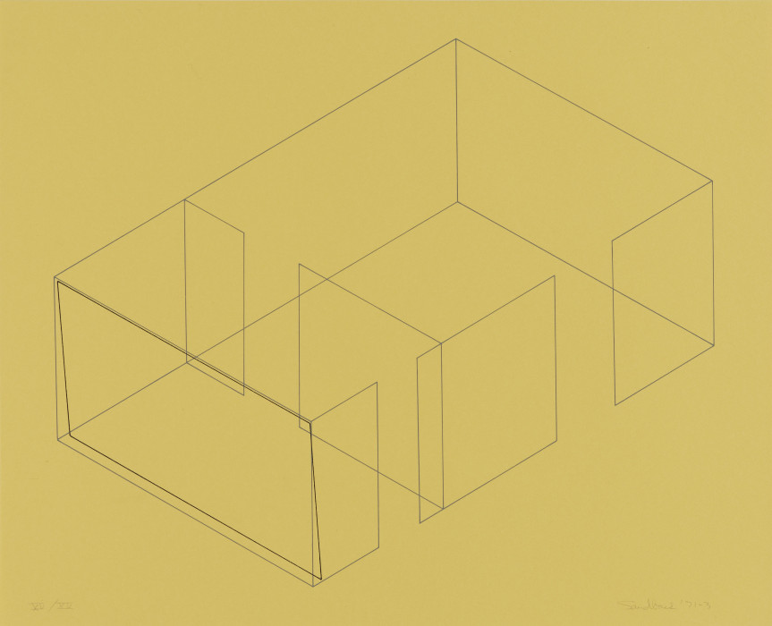 A gray line drawing of an aerial view of an architectural space is placed diagonally on a yellow background. A black rectangle is drawn in relation to the leftmost