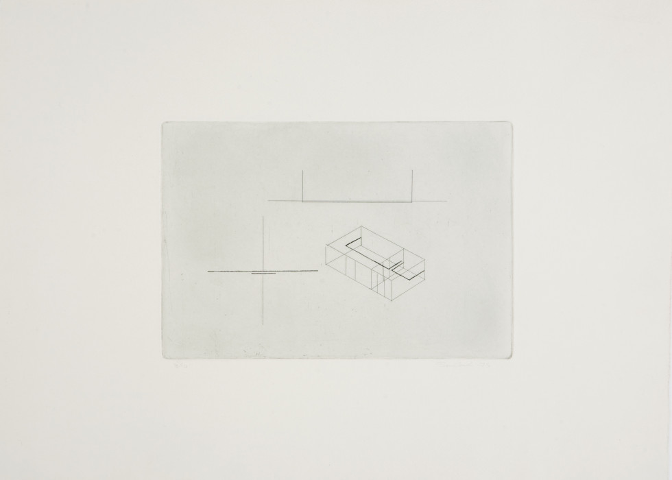 A line drawing on a gray background is framed by a larger gray sheet of paper. The drawing consists of various abstract lines and shapes.
