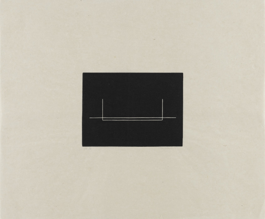 An off-white square with a rectangular, black, central shape that contains a white horizontal line is intersected by a goal-post-shaped line.