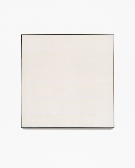 Square, framed painting of thick, horizontal, pale orange bands alternating with thin, bluish-white stripes.