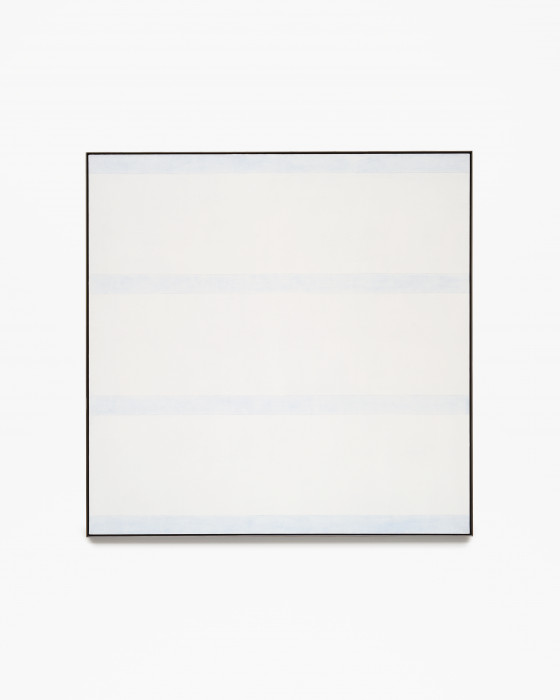 Square, white, framed painting with four evenly spaced, horizontal, light blue stripes.