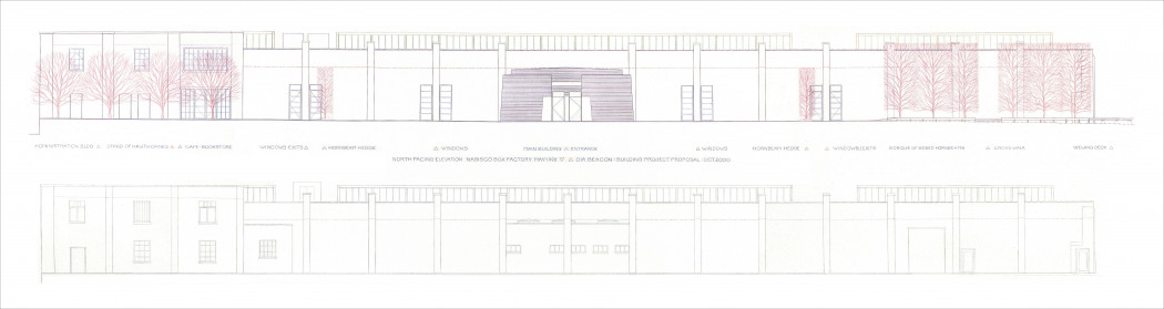 A blueprint illustrates two exterior views of a long, two-story building.