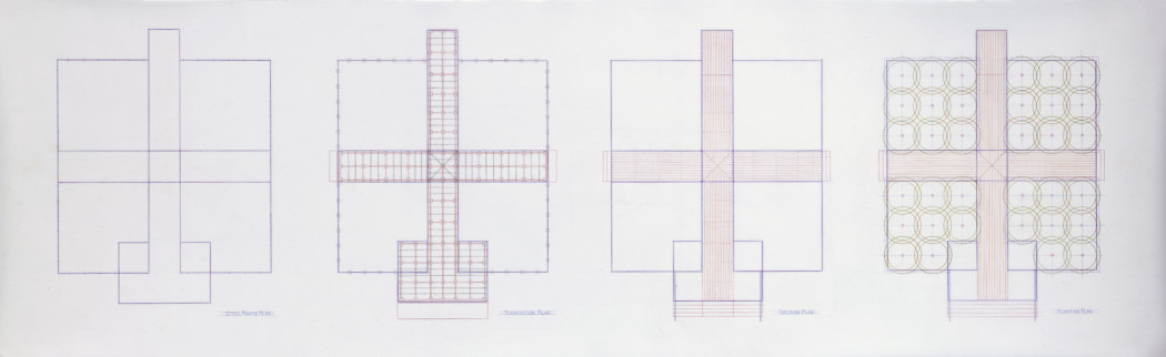 An aerial-view blueprint illustrates four side-by-side rectangular decks.