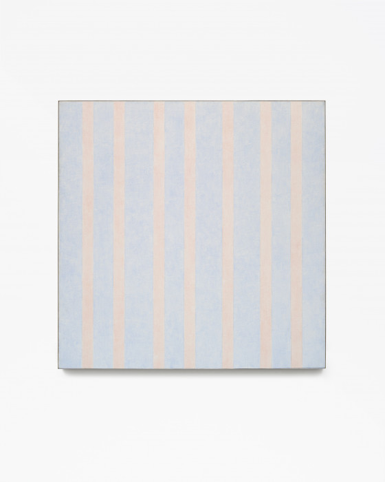 Square, framed painting with fifteen alternating vertical bands of pale orange and light blue.
