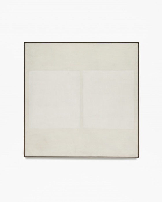 Square, beige, framed painting with two vertical, lighter rectangles at center.