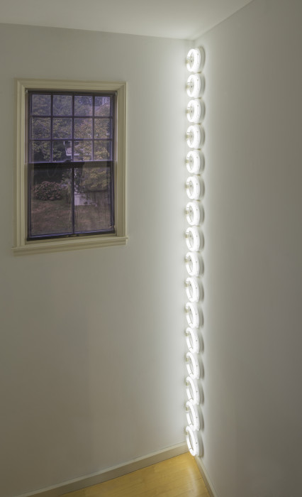 Sixteen circular, white, fluorescent lightbulbs are placed vertically in the corner of a white room next to a window.