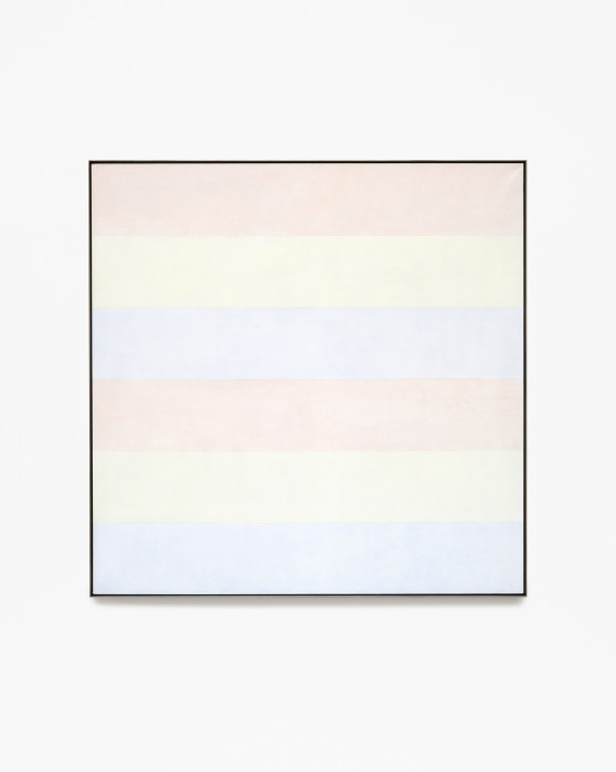 Square, framed painting with six alternating horizontal stripes of light pink, pale yellow, and light blue.