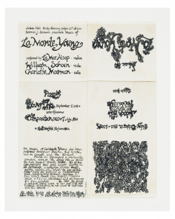 A vertical sheet of paper depicts black calligraphic text detailing the specifics of a concert at Judson Hall.