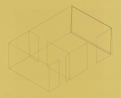 A gray line drawing of an aerial view of an architectural space is placed diagonally on a yellow background. A black rectangle is slightly offset from the rightmost