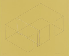 A gray line drawing of an aerial view of an architectural space is placed diagonally on a yellow background. A white rectangle is slightly offset from the middle
