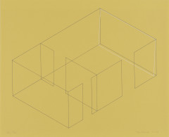 A gray line drawing of an aerial view of an architectural space is placed diagonally on a yellow background. A white rectangle is slightly offset from the rightmost