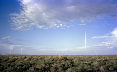Several tall metal poles are vertically placed around a vegetative desert landscape with a blue sky.