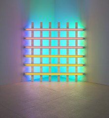 A large grid-like structure made up of fluorescent tubes in primary colors.