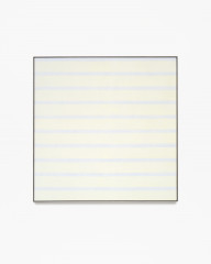Square, framed painting with thin, horizontal, bluish-white stripes alternating with thick, pale-yellow bands.