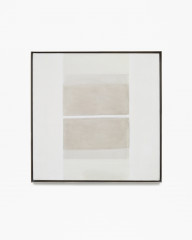 Square, gray, framed painting with two mirrored squares at center, with horizontal bands of brown, light brown, and beige.