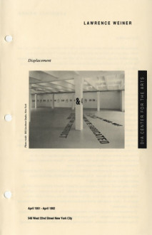 Weiner, Lawrence , Displacement brochure cover