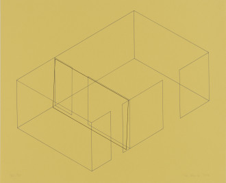 A gray line drawing of an aerial view of an architectural space is placed diagonally on a yellow background. A black rectangle is slightly offset from the middle
