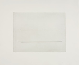 A line drawing on a gray background is framed by a larger gray sheet of paper. Three horizontal lines are centrally placed.