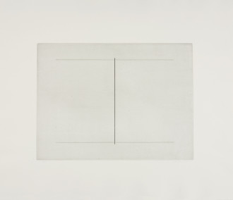 A line drawing on a gray background is framed by a larger gray sheet of paper. Two horizontal lines are connected by a centrally placed vertical line.