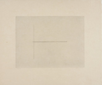 A line drawing on a beige background is framed by a larger beige sheet of paper. A vertical line is split in half by a smaller horizontal line.