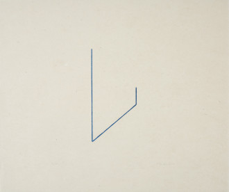 An unevenly drawn, V-shaped, blue line is centrally placed on a rectangular, gray background.