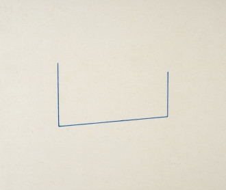 An unevenly drawn, U-shaped, blue line is centrally placed on a rectangular, gray background.