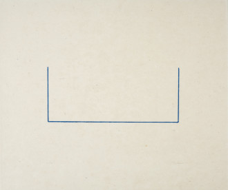Two short, vertical, blue lines connect at their lowest points by one long, horizontal line on a horizontally oriented, rectangular, tan background with a signature near the lower, right-hand corner.