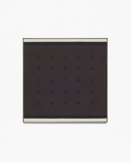 Square, framed painting with horizontal, white bands along top and bottom, next to black bands, framing a brown center square with twenty-five evenly spaced black dots.