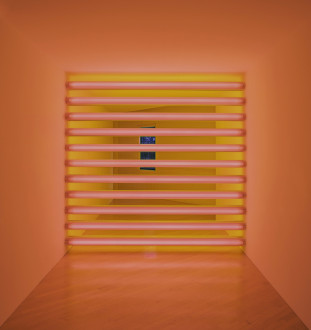 A grid of eleven horizontally oriented, tube-shaped, flourescent bulbs emit a pink light in the foreground and a yellow light in the background of a room.