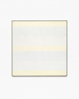 Square, framed painting with seven alternating horizontal bands of pale yellow, blue, and gray.