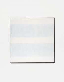 Square, framed painting with five alternating horizontal bands of light gray and pale blue.