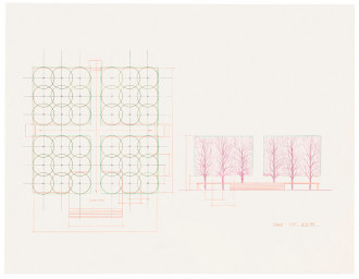 A blueprint illustrates an aerial view of a rectangular deck on the left and a frontal view of a tree-lined courtyard on the right.