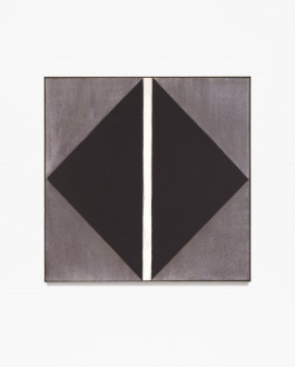 A central black diamond on a metallic-brown background is interrupted by a vertical white stripe in this framed square painting.