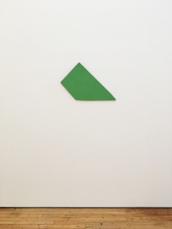 A flat, green trapezoidal object affixed to white wall.