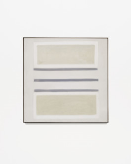 Square, beige, framed painting with three horizontal, blue-gray stripes at center and two horizontal, gold rectangles outlined in white placed above and below the stripes.