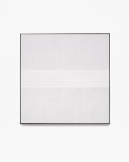 Square, gray, framed painting with six thin, horizontal, white, centered lines.