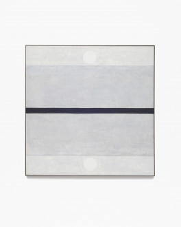 Square, gray, framed painting with thin, horizontal, black stripe at center with four horizontal, gray bands and two white dots above and below the stripe.
