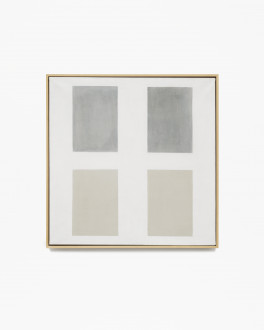 Square, white, framed painting with two rectangular, dark-gray shapes hovering above two rectangular, beige shapes.