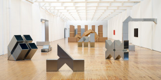 Images of sculptures by Charlotte Posenenske in Dia Beacon