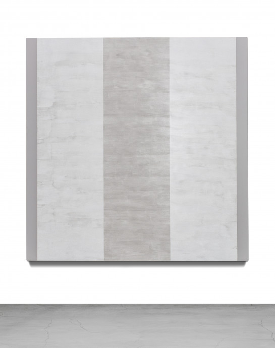 A square, luminescent painting includes a central, vertical band of light gray next to two vertical bands of white with thin, vertical stripes of gray along the painting's left and right edges.